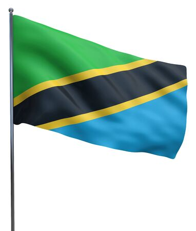 tanzania: Tanzania flag waving image isolated on white. Clipping path included. Stock Photo
