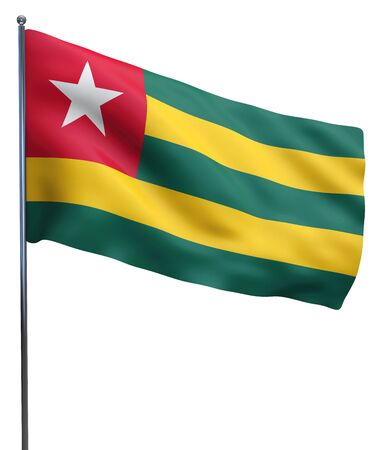 togo: Togo flag waving image isolated on white. Clipping path included.