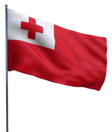 tonga: Tonga flag waving image isolated on white. Clipping path included.