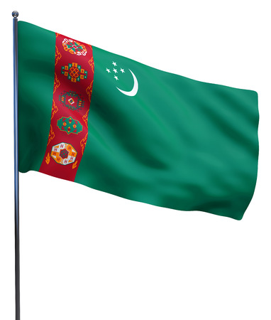 turkmenistan: Turkmenistan flag waving image isolated on white. Clipping path included.
