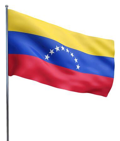 venezuela flag: Imagen de la bandera ondeando Venezuela aislado en blanco. Trazado de recorte incluido.