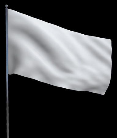 peace flag: White flag waving and isolated on black background.