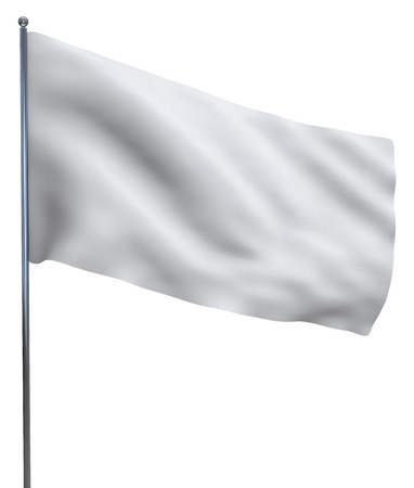 White flag waving isolated on white background. Fabric texture detail. Clipping path included.