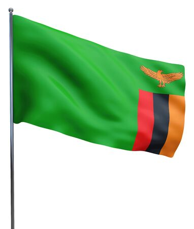 zambian: Zambia flag waving image isolated on white. Clipping path included. Stock Photo