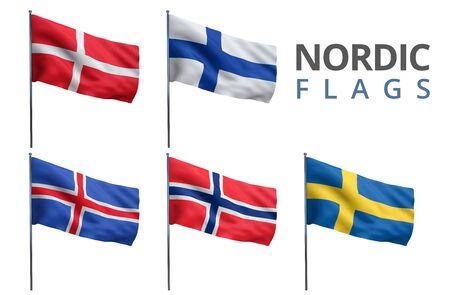 counties: Scandinavian counties Nordic states flags.