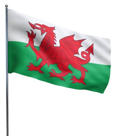 welsh flag: Galles bandierina sventola isolato su bianco. Percorso di clipping incluso. Archivio Fotografico