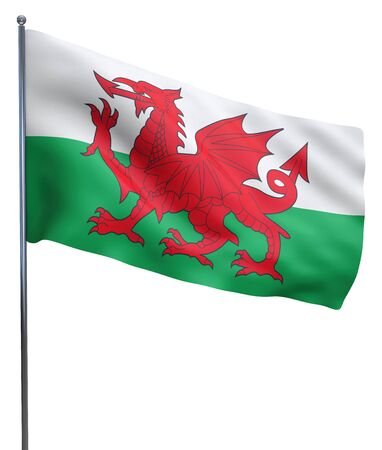 welsh: Wales flag waving image isolated on white. Clipping path included. Stock Photo