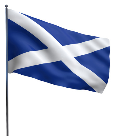 flutter: Scotland flag waving image isolated on white. Clipping path included. Stock Photo
