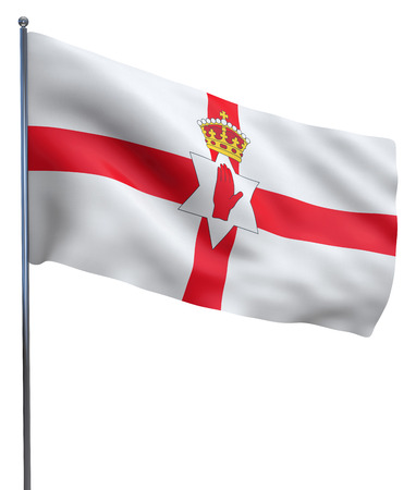 Northern Ireland flag waving image isolated on white. Clipping path included. photo