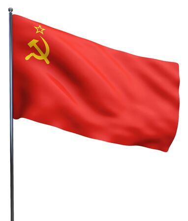 Soviet USSR flag waving. Isolated on white.