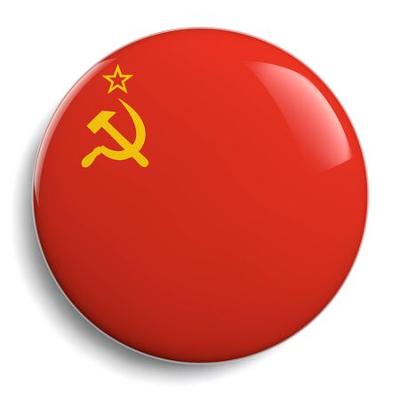soviet: USSR Soviet flag isolated button badge icon.
