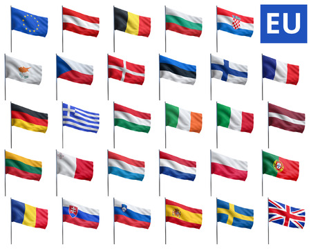 EU flags of European Union member states.