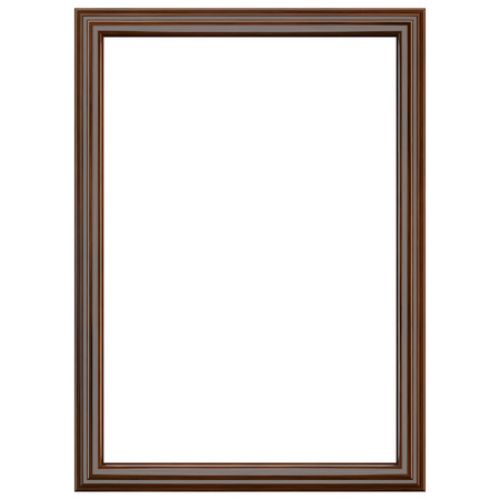 Classic dark brown wooden frame isolated on white. Clipping parth included.
