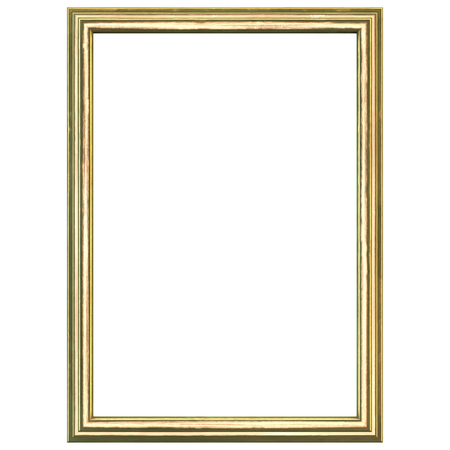 contemporary: Golden wood frame isolated on white.