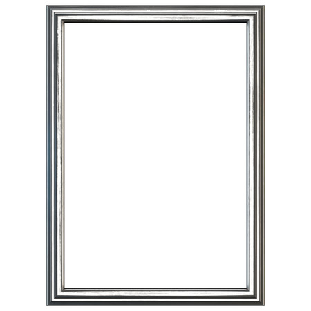 tarnished: Silver picture frame isolated on white. Clipping path included. Stock Photo