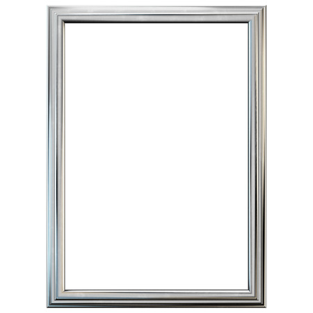 Silver frame isolated on white. Clipping path included. Banco de Imagens