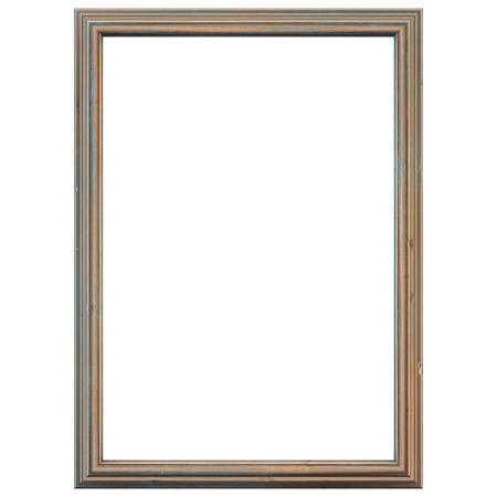 tarnished: Rustic wooden frame. Weathered and isolated on white. Clipping path included.