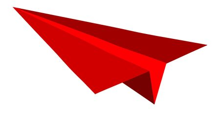 airborne vehicle: Paper plane on red background flat vector illustration. Illustration