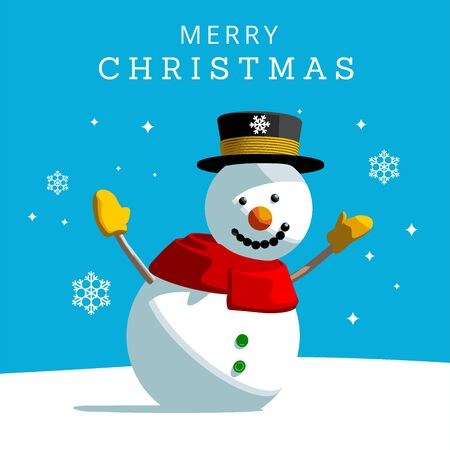 Snowman with Merry Christmas greeting on snowflakes background. Editable vector format Christmas card illustration. Ilustrace