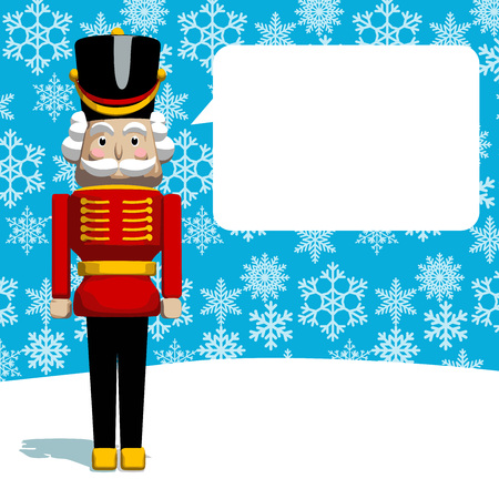 Christmas greeting card. The Nutcracker soldier as Santas helper on snowy background. Vector format.