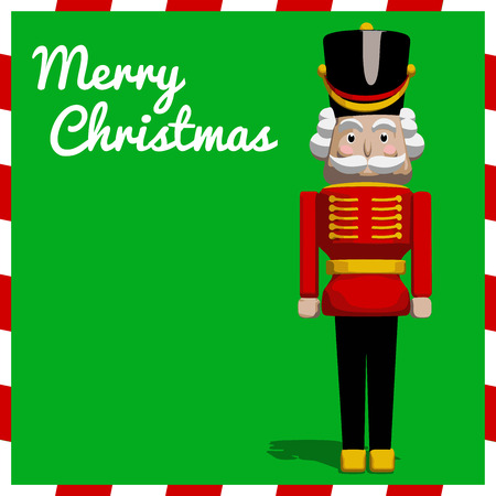 guarding: Nutcracker soldier toy Christmas greeting card in vector format. Illustration