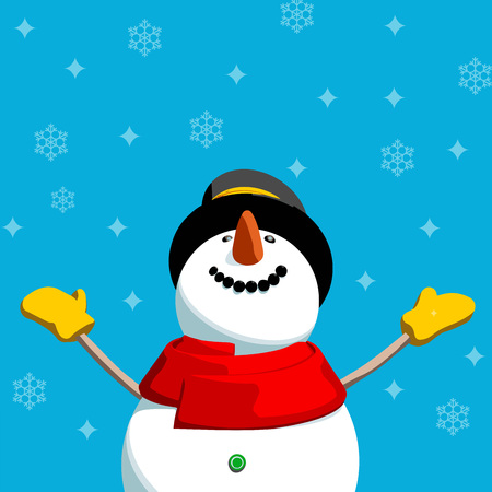 child looking up: Happy Snowman with snowflakes background. Editable vector format Christmas card illustration. Illustration