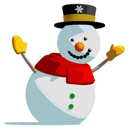 bonhomme de neige: Bonhomme de neige vecteur isol� illustration sur fond blanc. Illustration