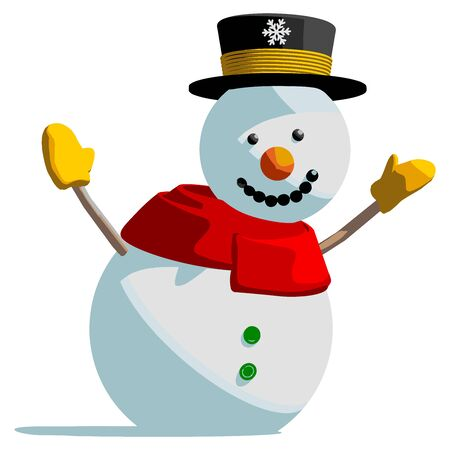 Snowman isolated vector illustration on white background.