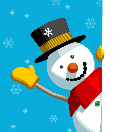 snowman vector: Happy cute snowman greeting and holding a blank message page. Editable vector format Christmas card illustration.