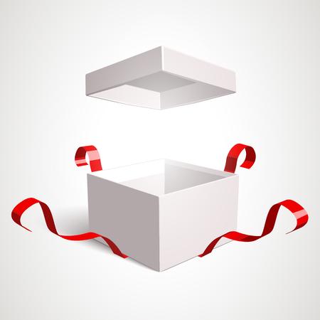 sorpresa: Abrir la caja de regalo plantilla de diseño vectorial. Los elementos son editables por separado en el archivo vectorial. Vectores