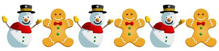 gingerbread person: Christmas snowman gingerbread man cookies. This is a vector illustration pattern isolated on white background. The cute festive characters are main symbols of the winter holidays.