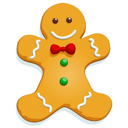 ジンジャーブレッドマン クリスマス クッキー文字が白で隔離。ベクトルの図。