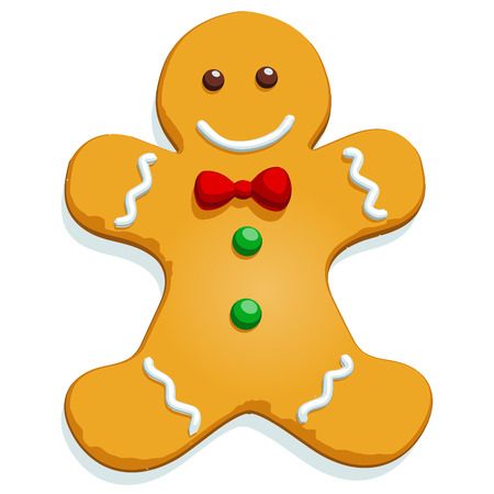 holiday cookies: Gingerbread man Christmas cookie character isolated on white. Vector illustration.
