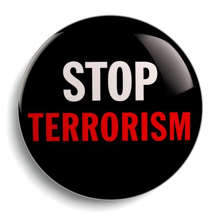 terrorism crisis: Anti terrorism campaign badge with Stop Terrorism text. Stock Photo