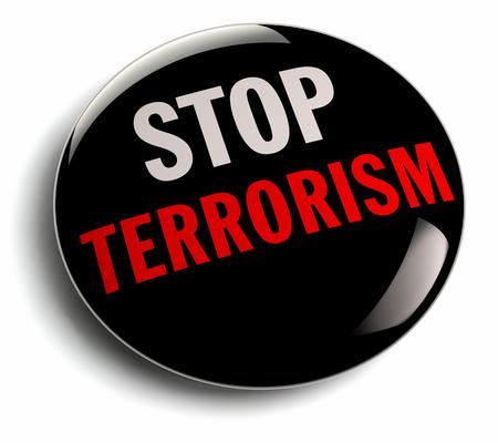terrorism crisis: Stop Terrorism activism campaign message on a black badge.