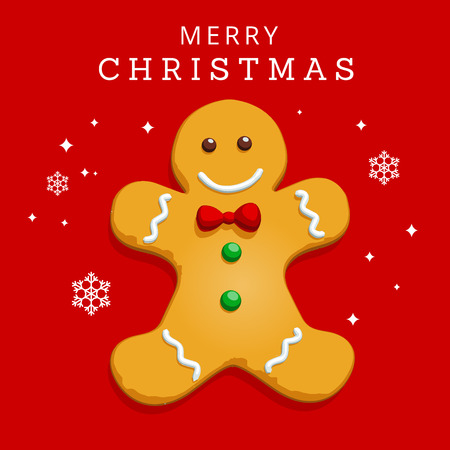 christmas cookie: Gingerbread man Christmas cookie character with snow flakes on red background. Festive greeting card in easy to edit vector format.