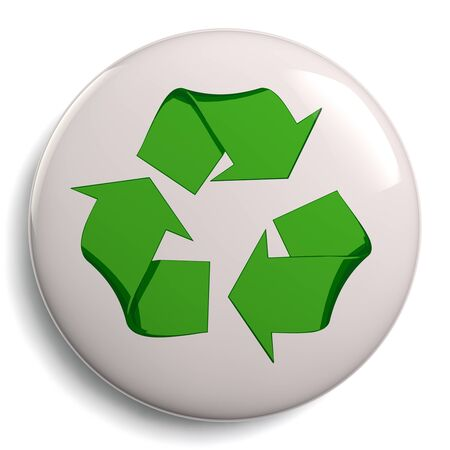 green eco: Recycle symbol or sign badge of conservation. Eco friendly green icon isolated on white background. Clipping path included for easy selection.