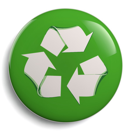 Recycle symbol or sign. Green conservation campaign badge. Eco friendly icon isolated on white background. Clipping path included for easy selection. Stock Photo