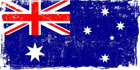 Australia vector grunge flag isolated on white background.