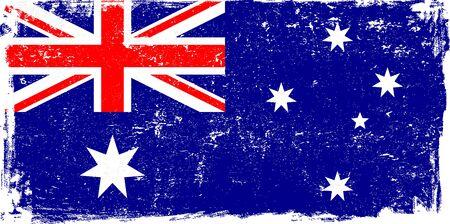 sketched: Australia vector grunge flag isolated on white background. Illustration
