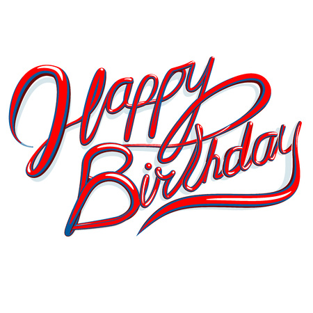 copy writing: Happy Birthday text cursive script isolated on white background. Greeting card vector format image.
