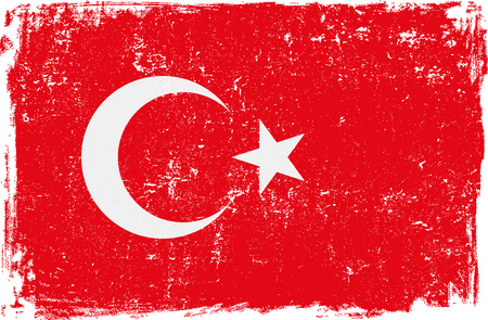 turkey: Turkey vector grunge flag isolated on white background.