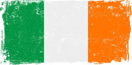 ireland flag: Ireland vector grunge flag isolated on white background.