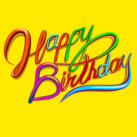 niños con pancarta: tarjeta de felicitación del vector con el texto colorido escritura cursiva saturado en el fondo de color amarillo brillante.