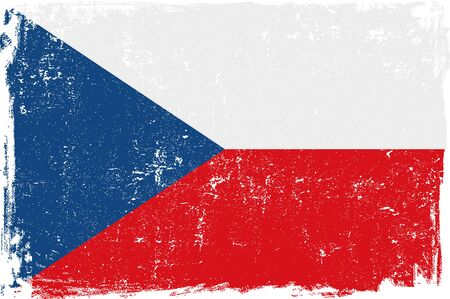 czech: Czeck Republic vector grunge flag isolated on white background.