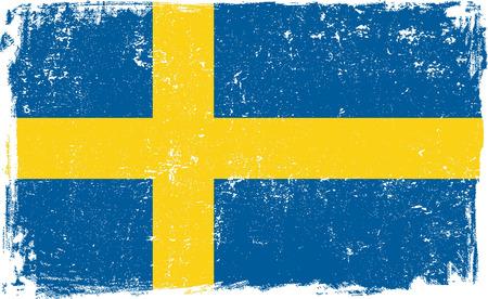 Sweden vector grunge flag isolated on white background.