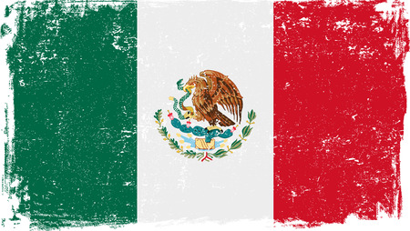 Mexico vector grunge flag isolated on white background.