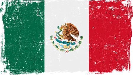 Flaga Meksyku wektor grunge wyizolowanych na białym tle.