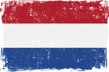 holland: Holland vector grunge flag isolated on white background. Illustration