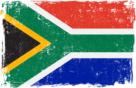 south african flag: South Africa vector grunge flag isolated on white background.